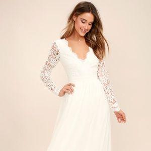 Lulu's Awaken My Love White Lace Maxi Dress
